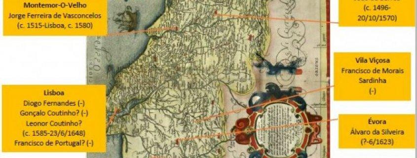 MAPA DE LOCAIS DE NASCIMENTO DE AUTORES DE LIVROS DE CAVALARIAS
